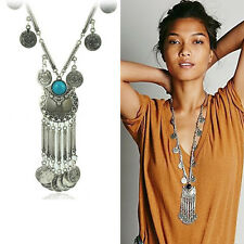 Retro Women Metal Pendant Statement Fashion Chain Necklace Black&Blue Gift New