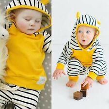 2pcs Newborn Toddler Baby Boy Girl Winter Clothes T-shirt Tops+Pants Outfits Set