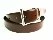 Mens Premium Quality Smooth Leather Reversible Black Brown Belt Silver Buckle
