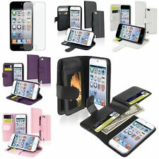 Color Flip Wallet Pouch Leather Case+Anti Glare Protector For ipod touch 5 6 5th