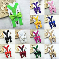 Kids New Design Suspenders and Bowtie Bow Tie Set Matching Ties Outfits F5