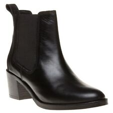 New Womens SOLE Black Bridget Leather Boots Ankle Elasticated Pull On