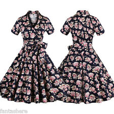 Sexy Women's Floral Rockability Vintage Style Housewife Swing Skater Dress S-4XL