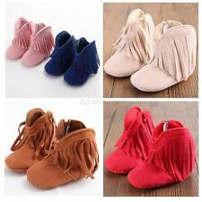 Baby Boy Girl PU Suede Tassel Boots Shoes Infant Winter Fringe Soft Sole Booties