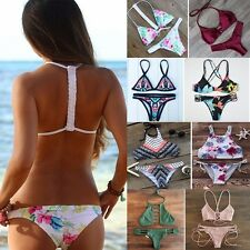 US Sexy Women Triangle Push-up Padded Bra Bikini Set Bandage Swimsuit Swimwear O