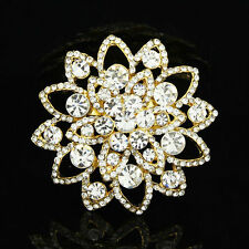 Elegant Rhinestone Boquet Flower Brooch Women Wedding Party Decor Brooches Pins