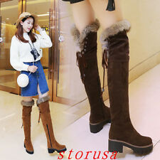 Furry Women Lady Cuban Heel Over Knee High Boots Shoes Snow Boots Size 34-43