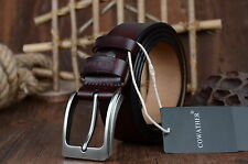 Luxury100% Top Cowhide Leather Mens Belt Alloy Pin Buckle Dress Casual Waistband