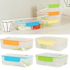 Clear Bento Lunch Box Set Utensils Picnic Food Storage Containers Microwave