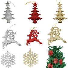 10pcs Glitter Reindeer Snowflake Christmas Tree Decoration Hanger Xmas Ornaments