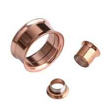 Rose Gold Fashion Steel Flesh Ear Tunnel Plug Charm Ear Expander Gauge Piercings