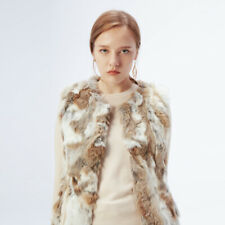 Hot Sale Real Knit Rabbit Fur With Raccoon Fur Collar Vest Gilet Fur Lady Coat