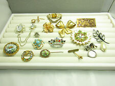 Lot of Vintage Costume Jewelry Pins Brooches Bow Flower Rhinestones Sparkle