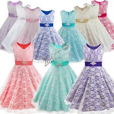 Communion Party Prom Princess Pageant Bridesmaid Wedding Lace Flower Girl Dress
