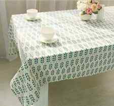 Elegant Simple Blue Leaves Dinning Coffee Table Cotton Linen Cloth Cover T