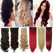 100% Full Head 8Pcs Clip In Hair Extensions Real Long Straight Wavy As Human T86