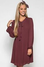 Lace Up Front Boho Shirt Dress Peasant Chestnut Fully Lined