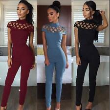 Womens Choker High Neck Caged Sleeve Mesh Playsuits Ladies Jumpsuits Long Pants
