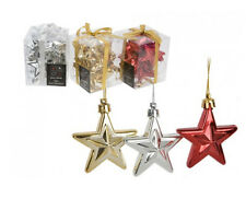 10 Pack Christmas Star Tree Trim Baubles In Gold Silver Or Red Xmas Decorations