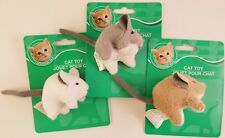 KITTEN CAT KITTY PLUSH TOY MICE, 1 Mouse Toy/Pk Select: Brown, Tan or White