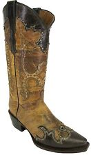 Women's New Studded Distressed Leather Cowgirl Western Boots Snip Beige Black