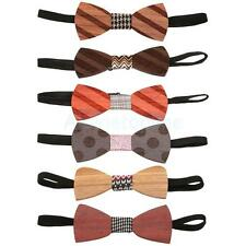 Hot Retro Men Wooden Bowtie Wood Grain Bow Tie Wedding Party Costume Adjustable