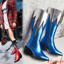 Vogue Women Lady Leather Knee High Boots Chunky Mid Heel Pointy Toe Shoes Size