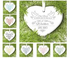 Our First Christmas Mr & Mrs Personalised Heart Decoration Gift Ceramic 8cmx7cm