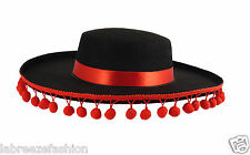 New Unisex Felt Bull Fighter Spanish Hat Black with Red Bobbles Trim Fancy Dress