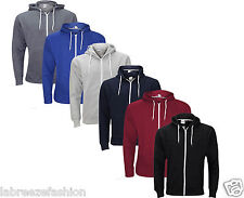 Mens American Fleece Plain Zip up Hooded Zipper Top Hoody Jacket