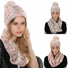 2 Pcs/Set Winter Women Warm Wool Knitted Fashion Scarf And Hat Beanie Cap F5