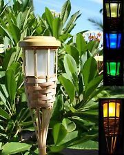 6 Solar Bamboo Tiki Torch Landscape Lights 5 LEDs Amber Flickering or Colors