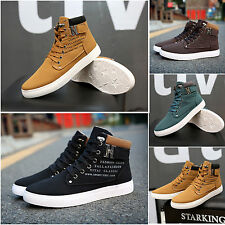 Fashion Men Casual Leather Ankle Shoes High Top Canvas Trainers Lace Up Sneakers