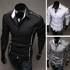 Casual Men's  Slim Fit  Shirts Long Sleeve Button Shirts Topstitching Top TEE