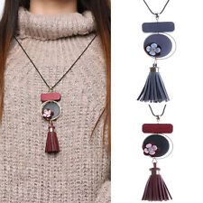 New Leather Tassel Chunky Chain Flower Pendant Sweater Blouse Necklace Xmas Gift