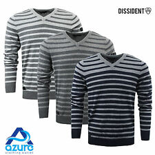 Mens Jumper by Dissident 'Zorg' V-Neck Sweater Striped Pullover Knitted S-XXL