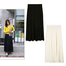 Fashion Ladies Girls Double Layer Chiffon Pleated Vintage Long Skirt Maxi Dress