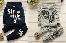 2pcs Toddler Infant Kids Baby Boys Outfits Suits Hooded tops+pants Clothes Set
