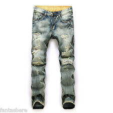 Hot Men's Classic Jeans Stylish Designed Straight Slim Fit Trousers Casual Pants