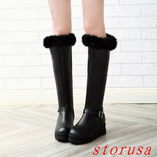 Hidden Wedge Heel Women Lady Furry Knee High Boots Shoes Buckle Snow Boots Size