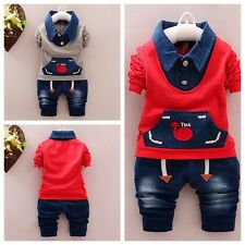 2PCS Toddler baby boys outfits tops+ Denim pants kids Casual Clothing set