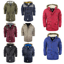 Mens Parka Parker Padded Lined Hood Winter Jacket Faux Fur Hooded Coat S-XL