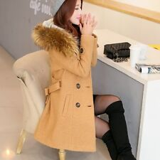 Women Double-breasted Long Trench Coat Jackets Big Fur Collar Woolen Belt Coat #
