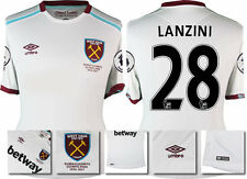 16 / 17 - UMBRO WEST HAM UNITED AWAY SHIRT SS + PATCHES  LANZINI 28 = KIDS SIZE