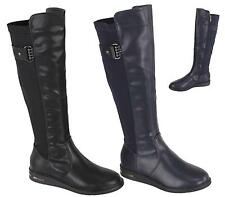 LADIES WOMENS FLAT KNEE HIGH ZIP BUCKLE RIDING BOOTS LEG MID CALF WINTER SIZE