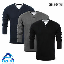 Mens Jumper by Dissident 'Brookmead' V Neck Knitted Sweater Sizes S - XL