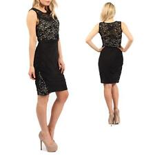 Women Slinky Lace Ruched Ladies Jersey Drape Contrast Lining Bodycon Party Dress