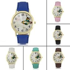 Round Dial Butterfly Pattern Women Lady PU Leather Band Quartz Wrist Watch F5
