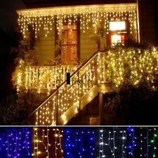96LED Hanging Icicle Snowing Curtain Lights Outdoor Fairy Xmas String ILOE