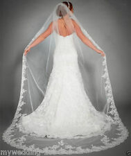 1T White/ivory Bridal vail Cathedral Lace Edge Veils Bride Wedding Veil & Comb
